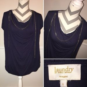 LAUNDRY by SHELLI SEGAL | Navy Blue chain blouse